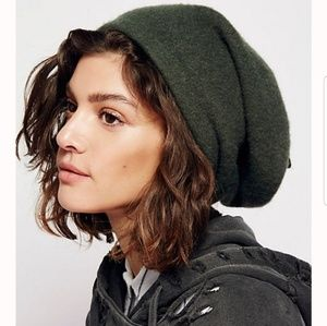 Free People Bisous Slouchy Beret Grey Wool